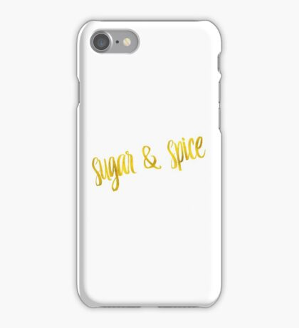 Sugar And Spice Gold Faux Foil Metallic Glitter Quote Isolated on White Background iPhone Case/Skin