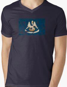 Louisiana Splatter Mens V-Neck T-Shirt