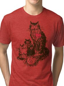 Sketch a cat with kittens. Mother and children Tri-blend T-Shirt