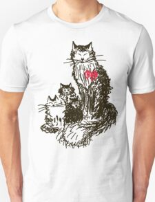 Sketch a cat with kittens. Mother and children Unisex T-Shirt