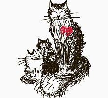 Sketch a cat with kittens. Mother and children Women's Fitted Scoop T-Shirt