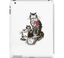 Sketch a cat with kittens. Mother and children iPad Case/Skin