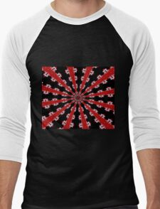 Red Black and White Abstract Men's Baseball ¾ T-Shirt
