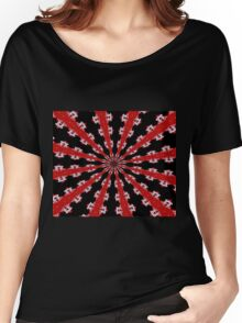 Red Black and White Abstract Women's Relaxed Fit T-Shirt