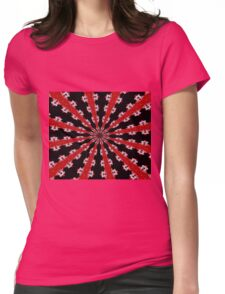 Red Black and White Abstract Womens Fitted T-Shirt