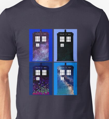 Tardis Funky Four Background Design Unisex T-Shirt