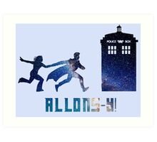 Allons-y Tenth Doctor and Companion Art Print