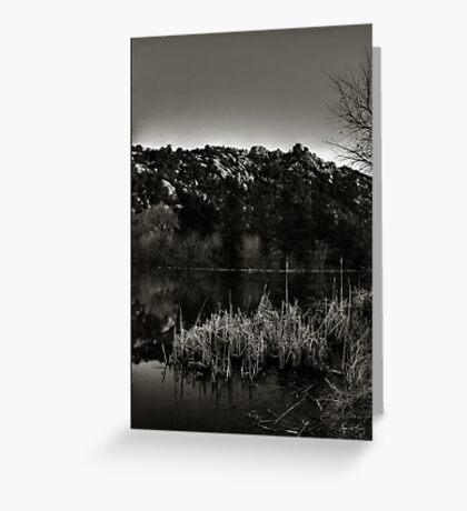 Prescott Lake Sunrise  Monochrome Greeting Card