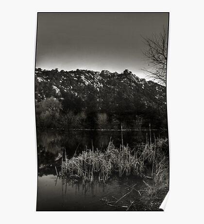 Prescott Lake Sunrise  Monochrome Poster