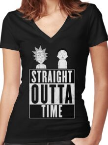 Straight outta Time - Rick & Morty Women's Fitted V-Neck T-Shirt