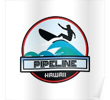 Surfing Pipeline Hawaii Oahu Surf Surfboard Waves Poster