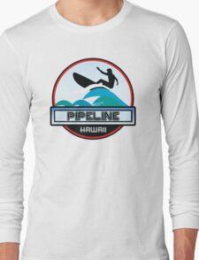 Surfing Pipeline Hawaii Oahu Surf Surfboard Waves Long Sleeve T-Shirt
