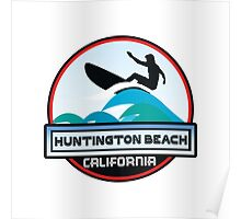 Surfing Huntington Beach California Surf Surfboard Waves Poster