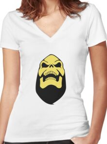 Skeleton Smile Women's Fitted V-Neck T-Shirt