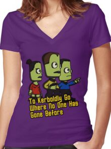 To Kerboldly Go Women's Fitted V-Neck T-Shirt