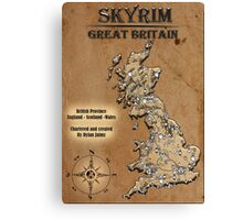 Skyrim Inspired Vintage British Chartered Map Rustic Canvas Print