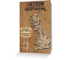 Skyrim Inspired Vintage British Chartered Map Rustic Greeting Card