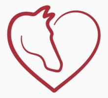 I love horses, heart with horse head Kids Tee