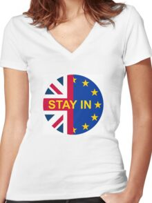 BRITAIN STAY IN THE EU Women's Fitted V-Neck T-Shirt
