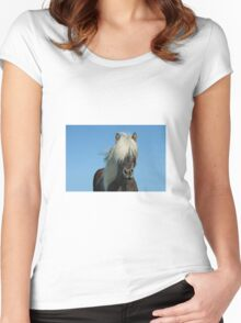 Horse and blue sky Women's Fitted Scoop T-Shirt