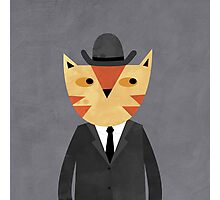 Ginger Cat in a Bowler Hat Photographic Print