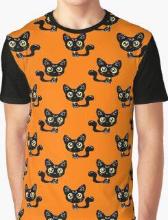 Cartoon Black Cat Pattern Graphic T-Shirt