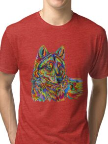 Psychedelic Wolf Tri-blend T-Shirt