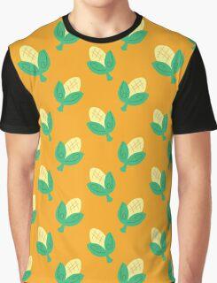 Cute Yellow Corn Pattern Graphic T-Shirt