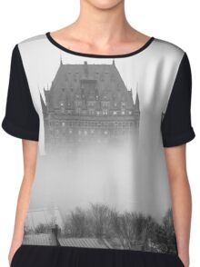 A Foggy Morning engulfs Chateau Frontenac Black and White Chiffon Top