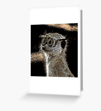 Steampunk Mongoose with Goggles and Attitude Greeting Card