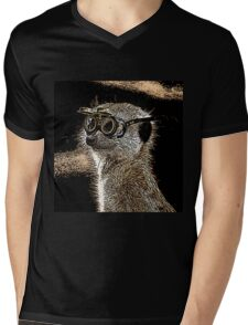 Steampunk Mongoose with Goggles and Attitude Mens V-Neck T-Shirt
