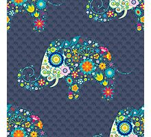 Colorful Retro Floral Elephant Seamless Pattern Photographic Print