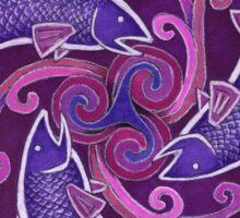 Purple Fish Spiral Sticker