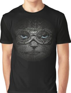 Sulky Steampunk Cat with Goggles and Attitude Graphic T-Shirt