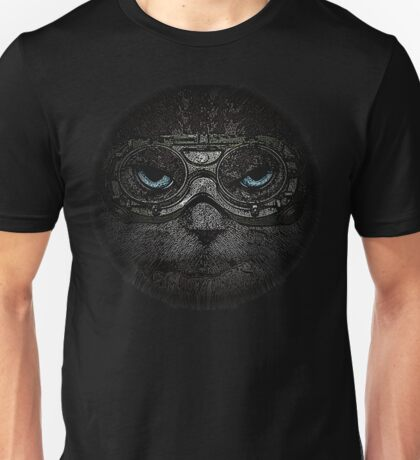 Sulky Steampunk Cat with Goggles and Attitude Unisex T-Shirt