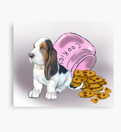 Basset Hound and Cookies Canvas Print