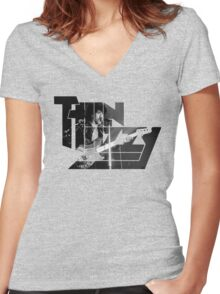 TIN LIZZY Women's Fitted V-Neck T-Shirt