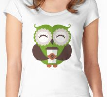 Funny owl who loves coffee. Women's Fitted Scoop T-Shirt