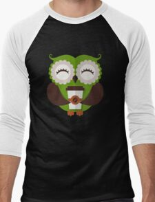 Funny owl who loves coffee. Men's Baseball ¾ T-Shirt