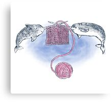 Narwhal Knitting Canvas Print