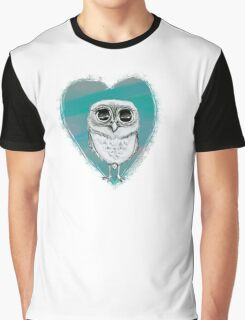 Tiny Elf Owl with Heart Graphic T-Shirt