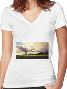 Rural Ontario Landscape Women's Fitted V-Neck T-Shirt