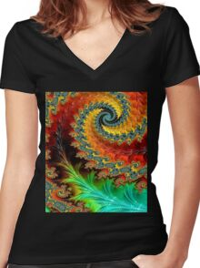 FEATHER SPIRAL Women's Fitted V-Neck T-Shirt