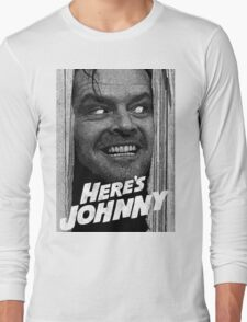Here's Johnny. Black and white Long Sleeve T-Shirt