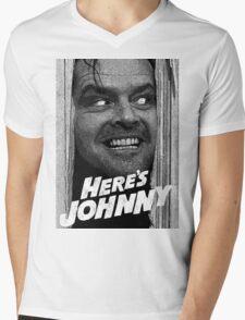 Here's Johnny. Black and white Mens V-Neck T-Shirt