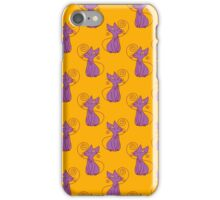 Purple and Yellow Fancy Cat Pattern iPhone Case/Skin