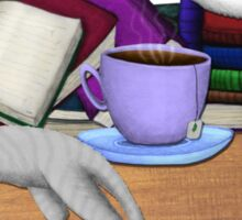 Cat Nap with Books & Tea (White & Tabby) Sticker