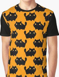 Cartoon Fat Black Cat Pattern Graphic T-Shirt