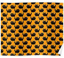 Cartoon Fat Black Cat Pattern Poster