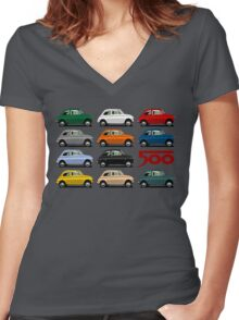 Fiat 500 side view Women's Fitted V-Neck T-Shirt